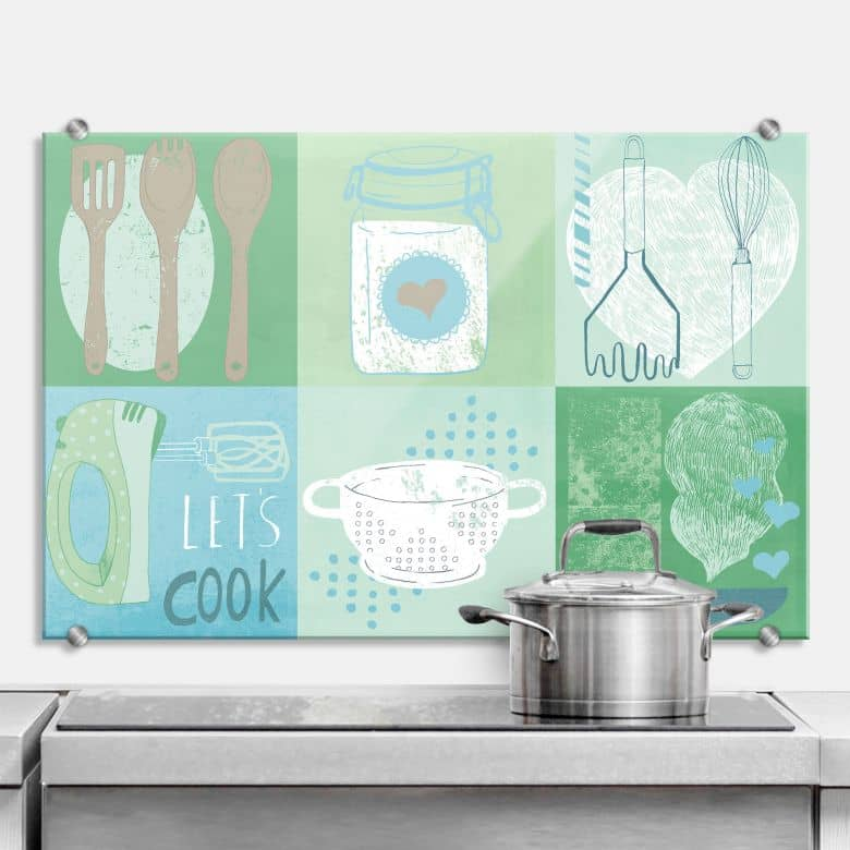 spritzschutz loske in the kitchen wall. Black Bedroom Furniture Sets. Home Design Ideas