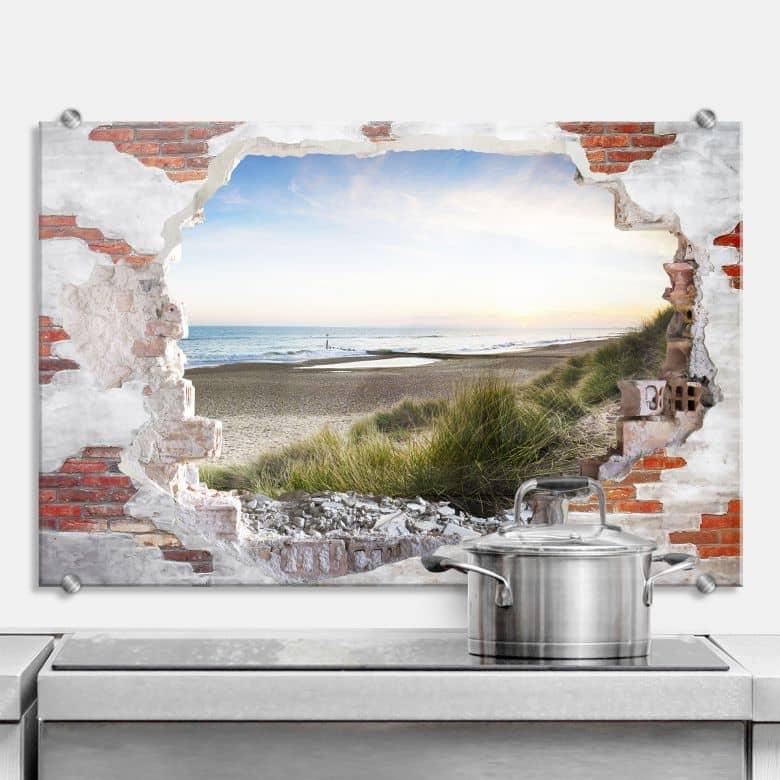 Spritzschutz 3D Optik - Strandpanorama