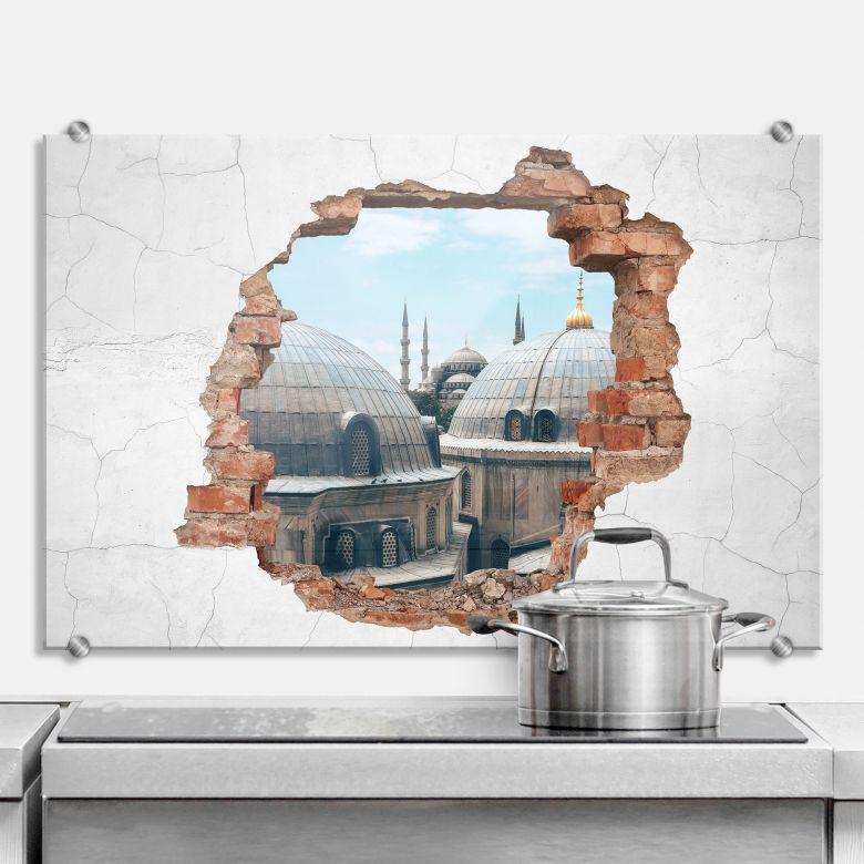 Spritzschutz 3D Optik - Über den Dächern von Istanbul
