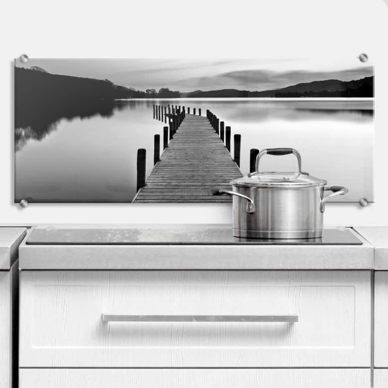 Spritzschutz Seepanorama - schwarz/weiß
