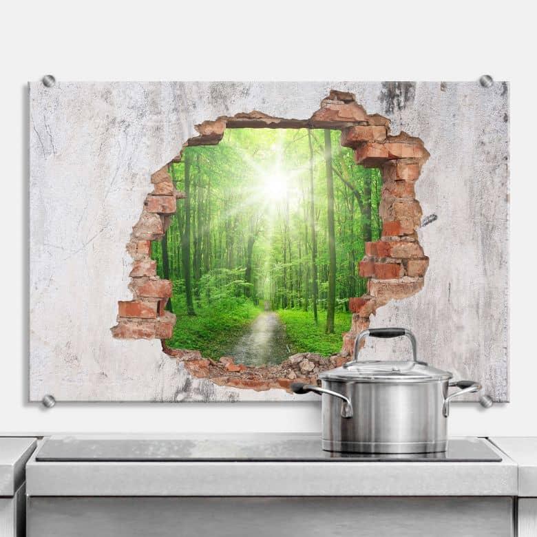 Spritzschutz 3D Optik - Sunny Forest