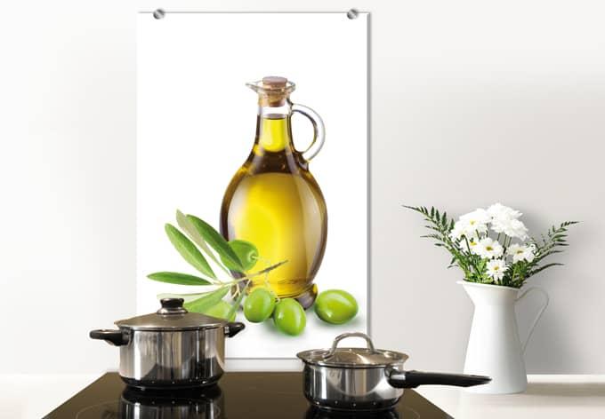 Spritzschutz Olives and a bottle - hochkant