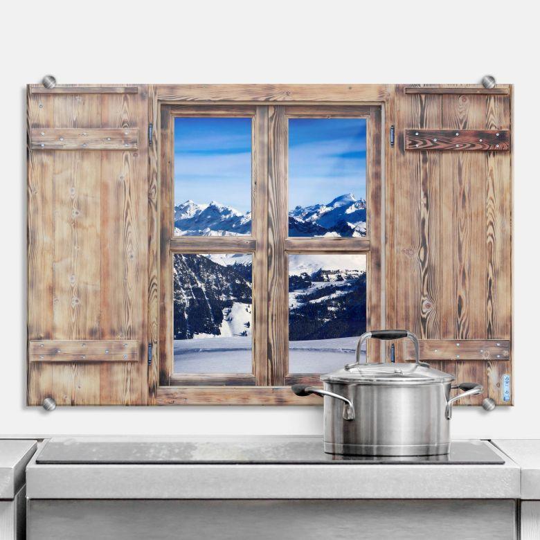 Spritzschutz 3D Holzfenster - Alpenpanorama