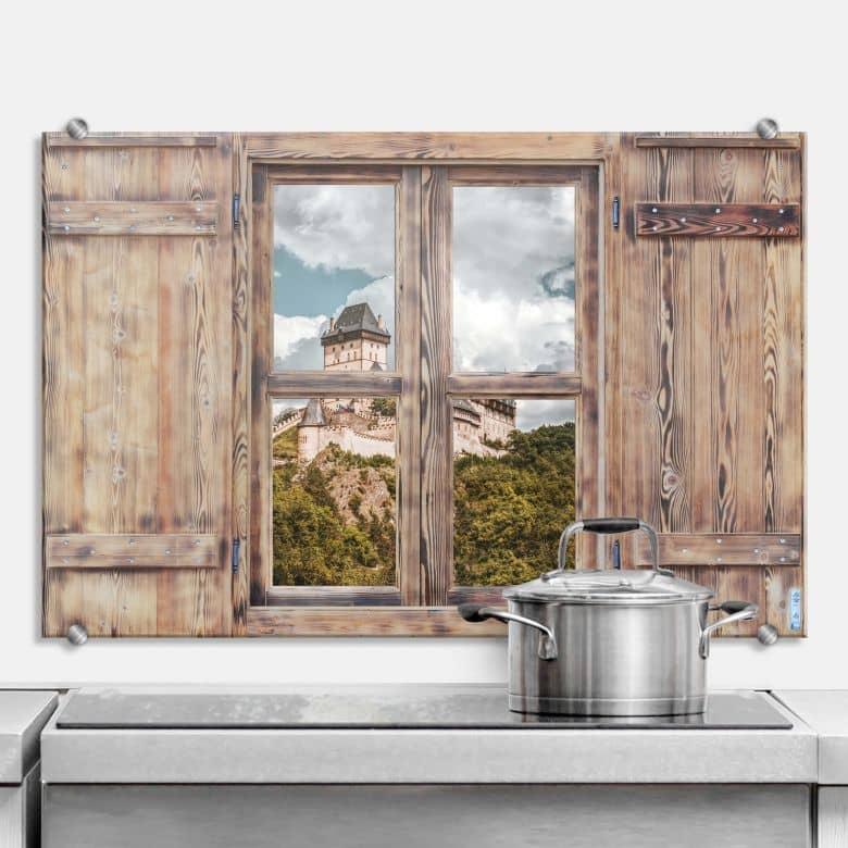 Crédence effet 3D Fenêtre en bois - Château de Karlstein