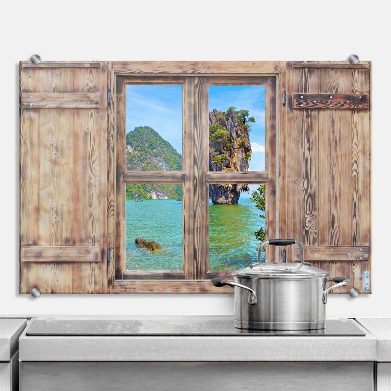 Spritzschutz 3D Holzfenster - Khao Ta Pu Island