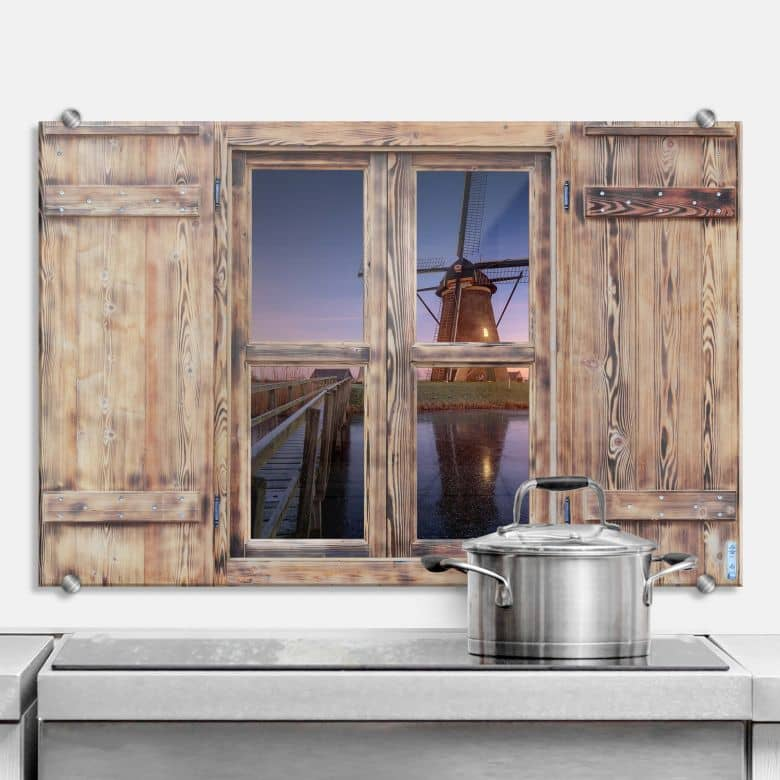 Spritzschutz 3D Holzfenster Pablo - Kinderdijk 2