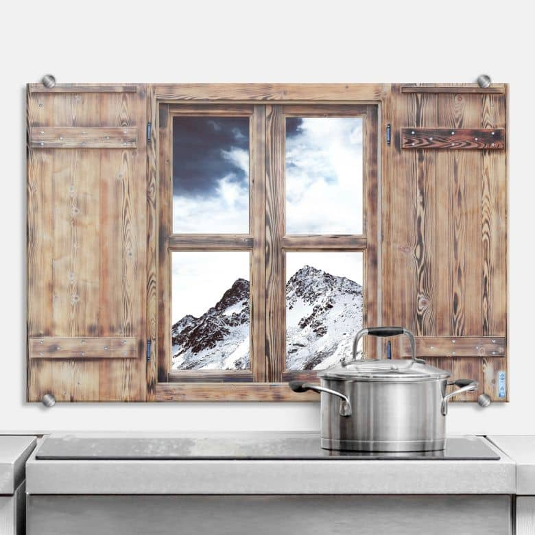 Spritzschutz 3D Holzfenster - Snow Mountain