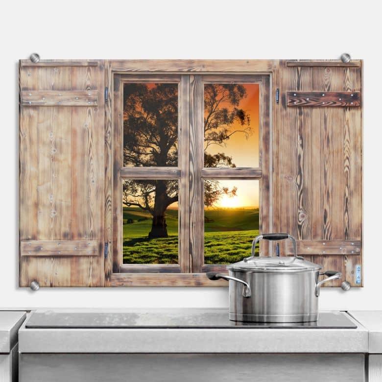Spritzschutz 3D Holzfenster - Sonnenuntergang über den Hügeln