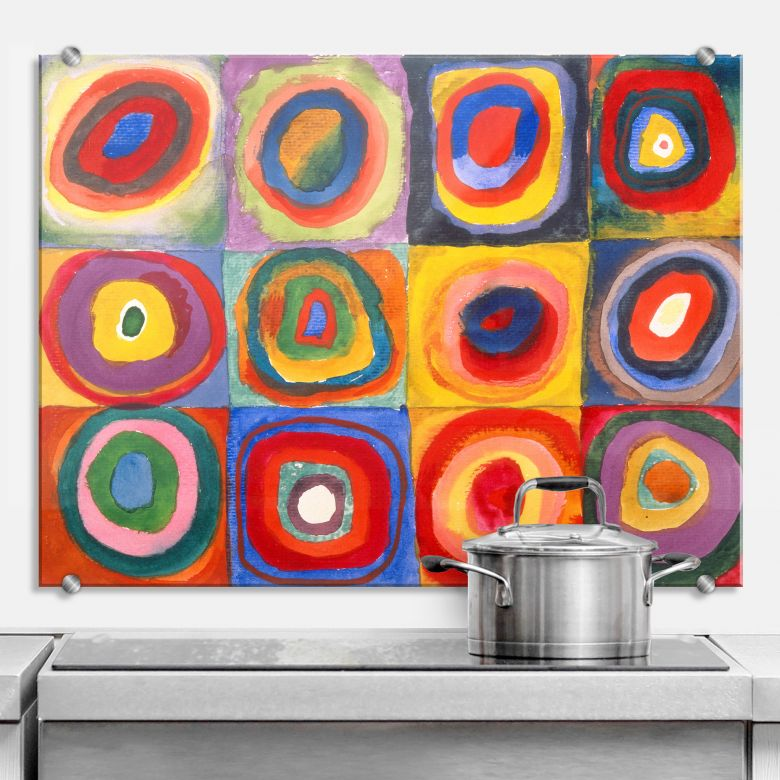 Spritzschutz Kandinsky - Farbstudie: Quadrate und konzentrische Ringe