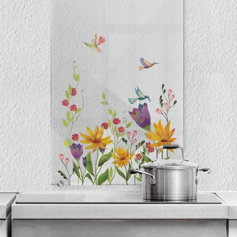 Spritzschutz hoch transparent Blanz - Blütenpoesie