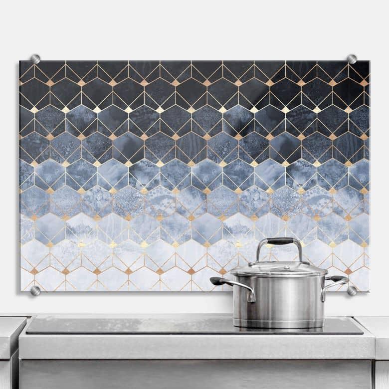 Splashback Fredriksson - Hexagons - Blue & Gold