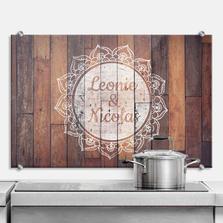 Splashback Wooden look with your text