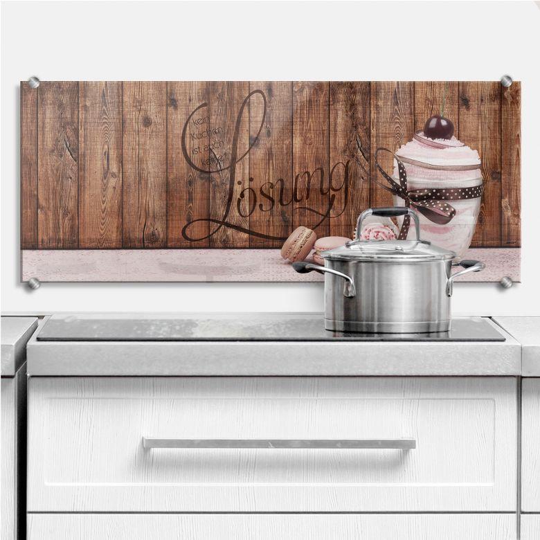 Spritzschutz kein kuchen ist auch keine l sung panorama wall - Wandbilder kuchenmotive ...