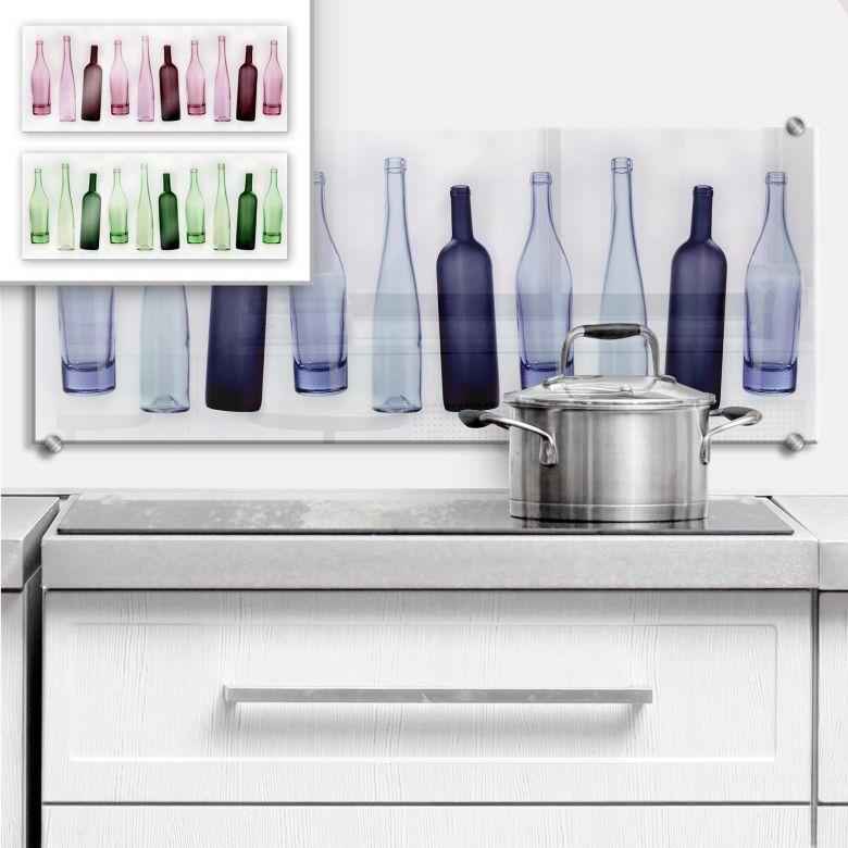spritzschutz bottles f r die k che wall. Black Bedroom Furniture Sets. Home Design Ideas