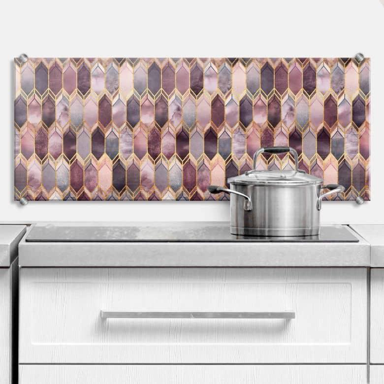 Spritzschutz Fredriksson - Glasmalerei: Rosé und Gold - Panorama