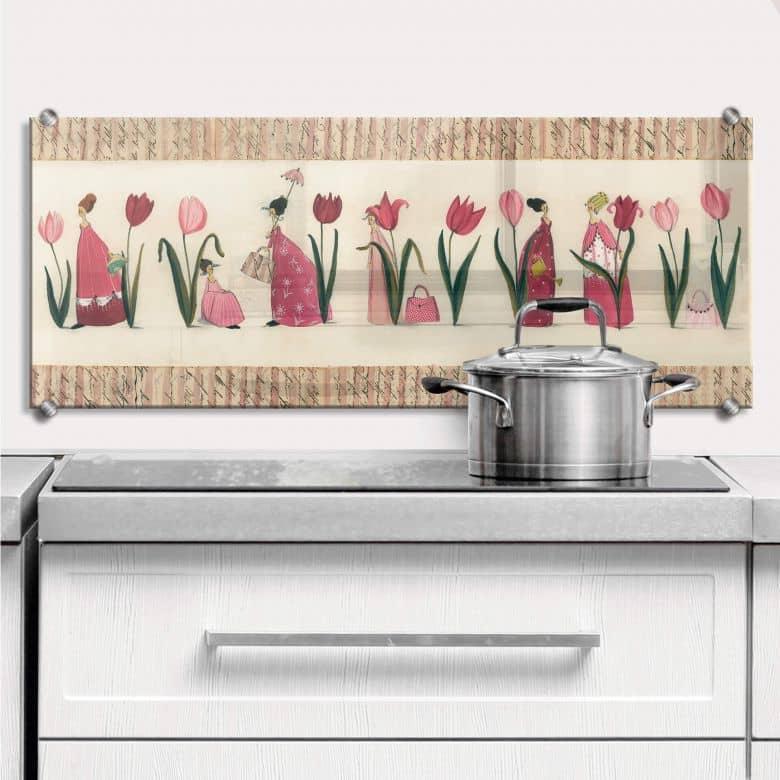 spritzschutz kuche tulpen. Black Bedroom Furniture Sets. Home Design Ideas