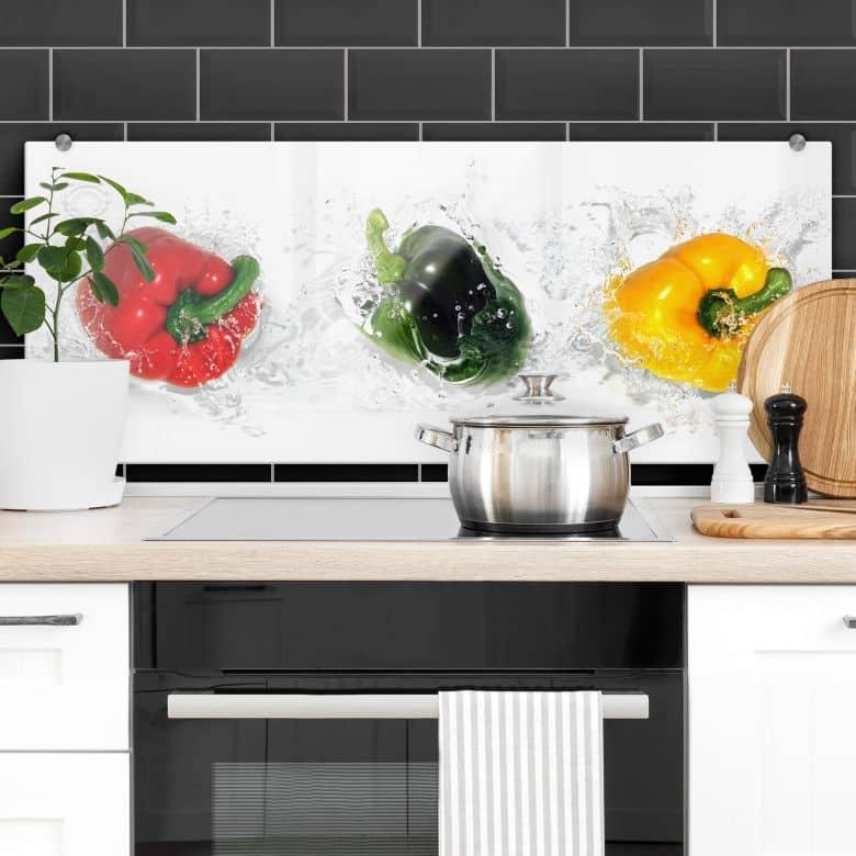 Splashing Peppers - Panorama - Kitchen Splashback