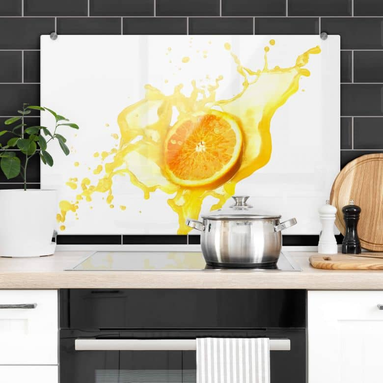 Splashing Orange - Kitchen Splashback
