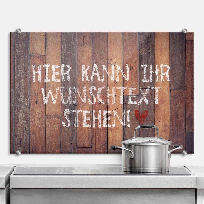 Spritzschutz Used Wood + Wunschtext