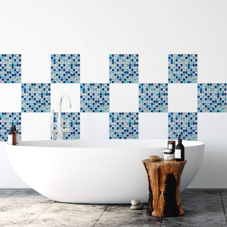 Carrelage adhésif mosaïque bleue - Set de 4 en 25,4 x 25,4 cm l'un