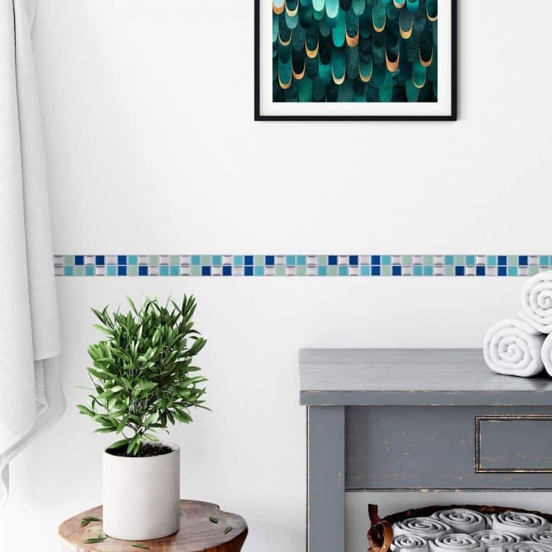 3D Fliesenaufkleber Mosaik Bordüre Blau - 10er Set je 25,3 x 3,7 cm