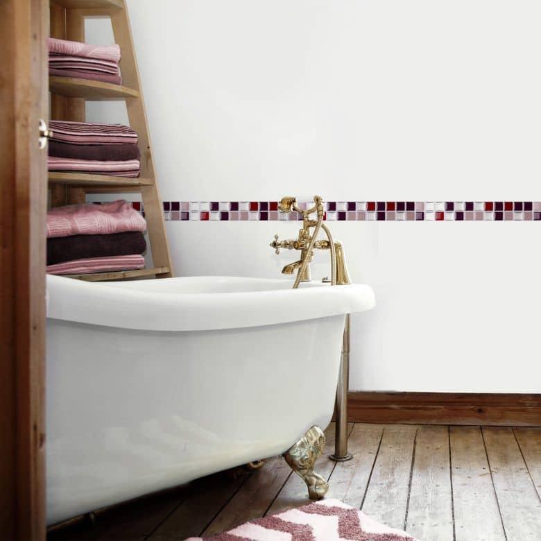 3D Fliesenaufkleber Mosaik Bordüre Bordeauxrot - 10er Set je 25,3 x 3,7 cm
