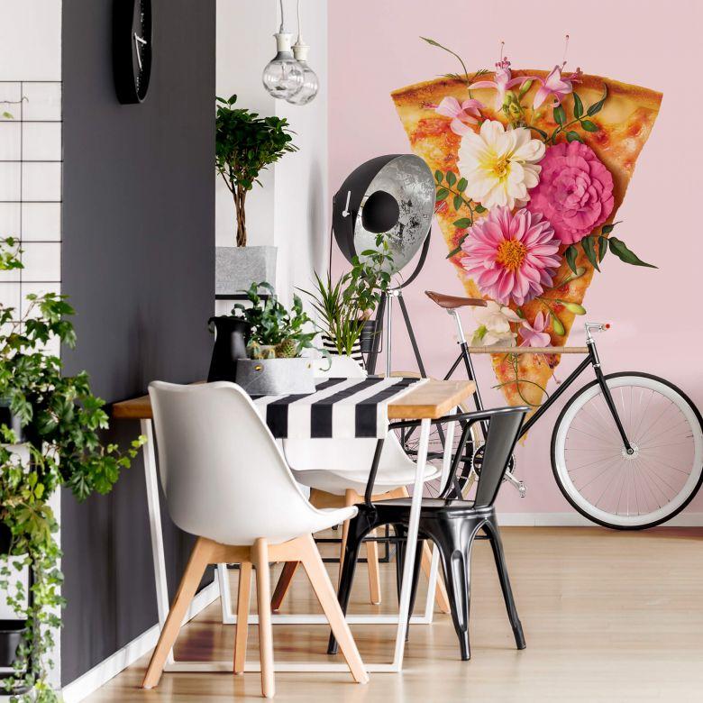 Fototapete Fuentes - Pizza und Blumen