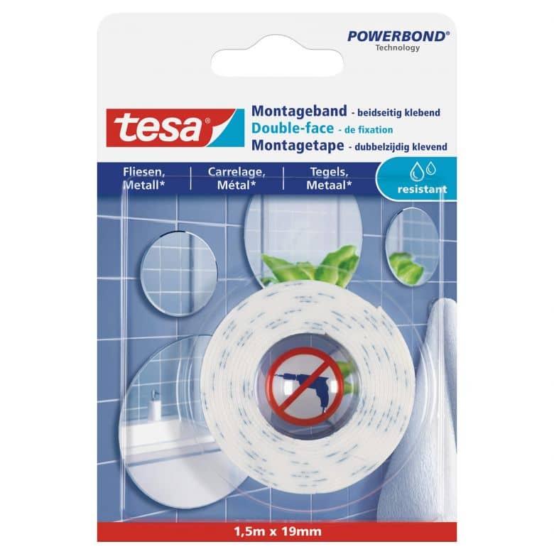 tesa® Montageband für Fliesen und Metall (10kg/m), 1,5 m x 19 mm, feuchtraumbeständig