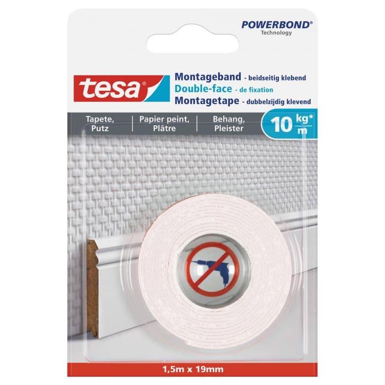 tesa® Montageband für Tapeten und Putz (10kg/m), 1,5 m x 19 mm