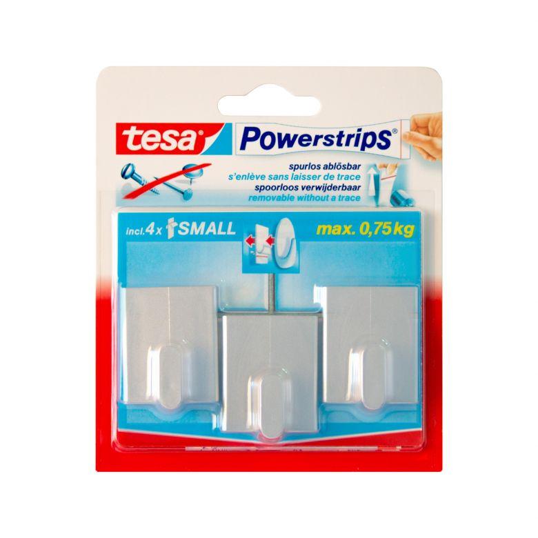 tesa Powerstrips® - Haken Rechteck chrom matt 3 Stk.