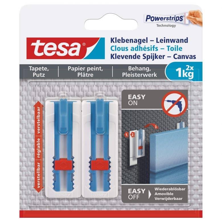 tesa® Klebenagel-Leinwand, verstellbar, für Tapete und Putz, 2x1kg