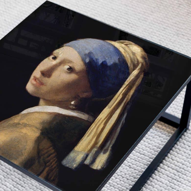Glazen Tafelblad vierkant Vermeer - Meisje met de Parel