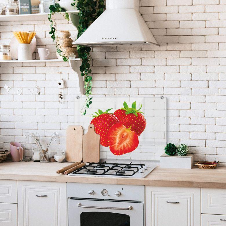 Spritzschutz - Strawberries - Transparent