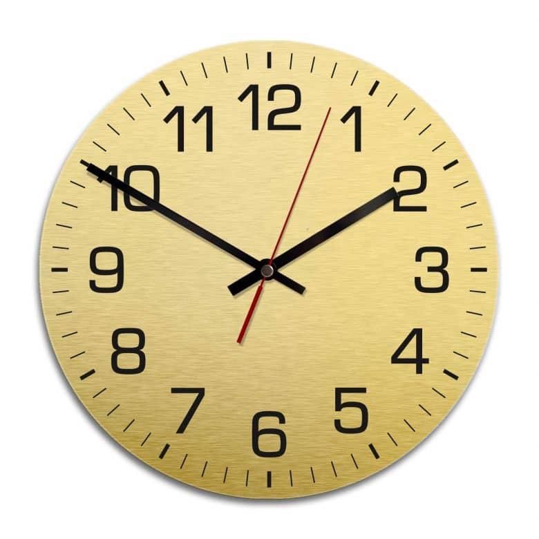Wanduhr Alu Dibond Goldeffekt - Klassisch mit Minutenanzeige - Ø 28 cm