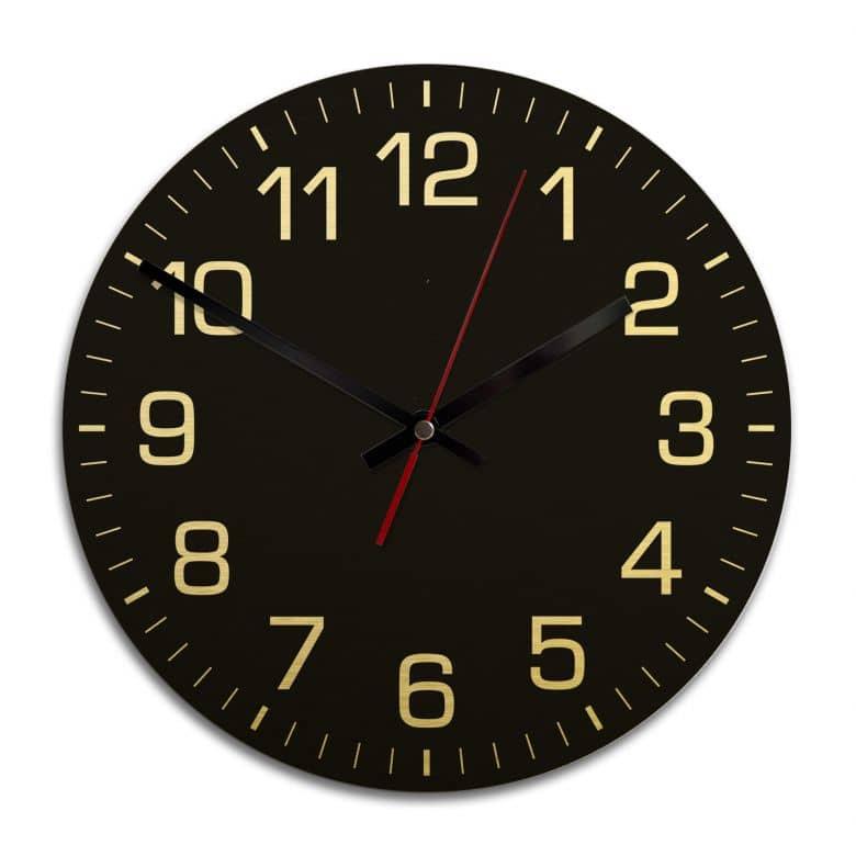 Wanduhr Alu Dibond Goldeffekt - Klassisch mit Minutenanzeige - negativ - Ø 28 cm