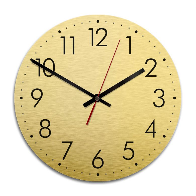 Wanduhr Alu Dibond Goldeffekt - Modern mit Minutenanzeige - Ø 28 cm