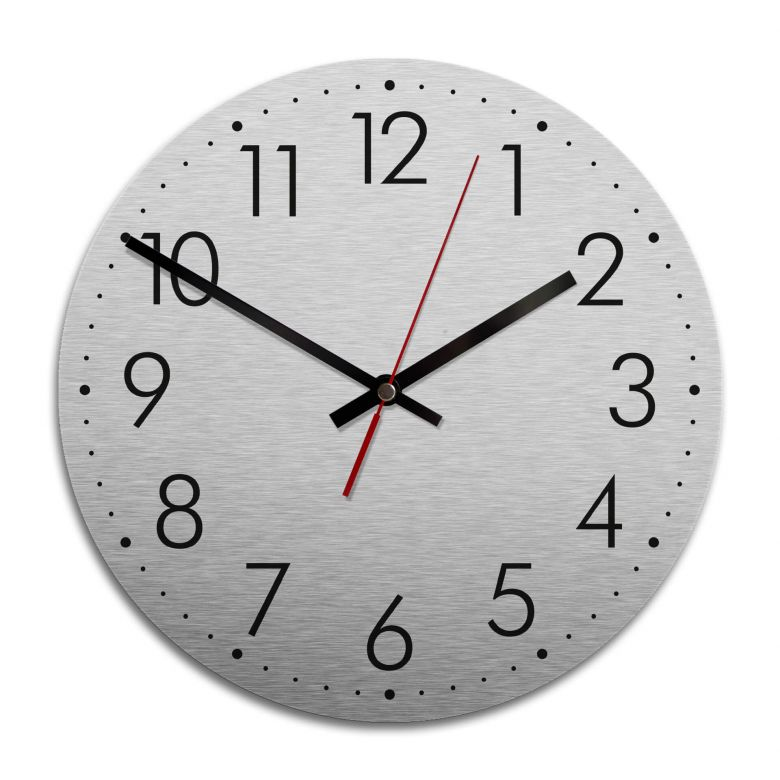 Wanduhr Alu-Dibond-Silbereffekt - Modern mit Minutenanzeige - Ø 28 cm