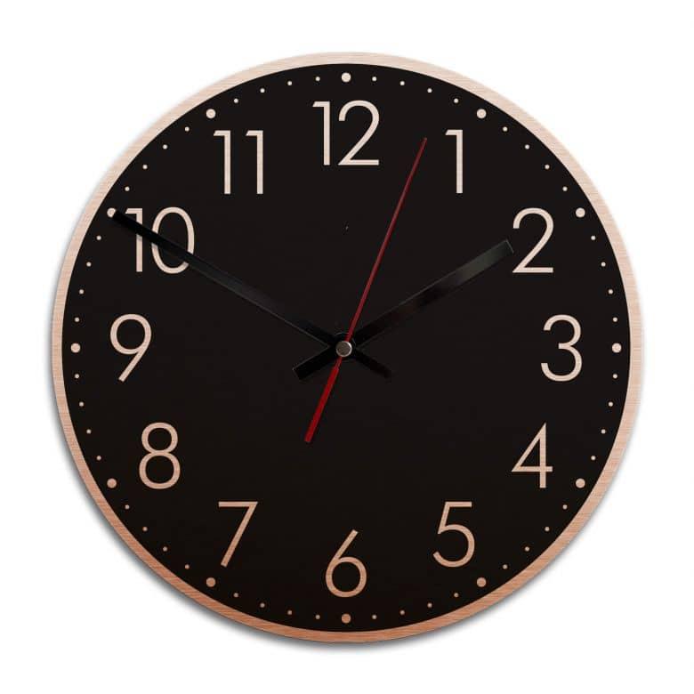 Wanduhr Alu Dibond Kupfereffekt - Modern mit Minutenanzeige - negativ - Ø 28 cm