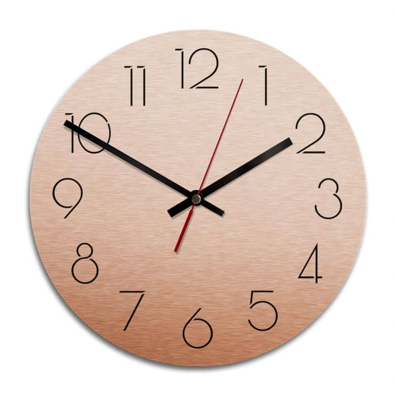 Wall Clock Alu-Dibond Copper Ø 28 cm