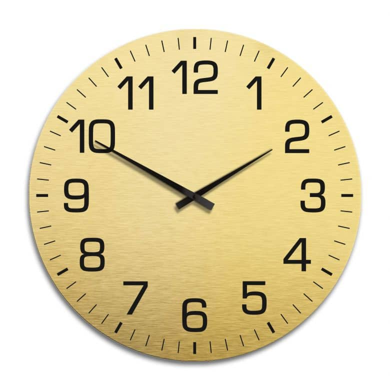 XXL Wanduhr Alu Dibond Goldeffekt - Klassisch mit Minutenanzeige Ø 70 cm