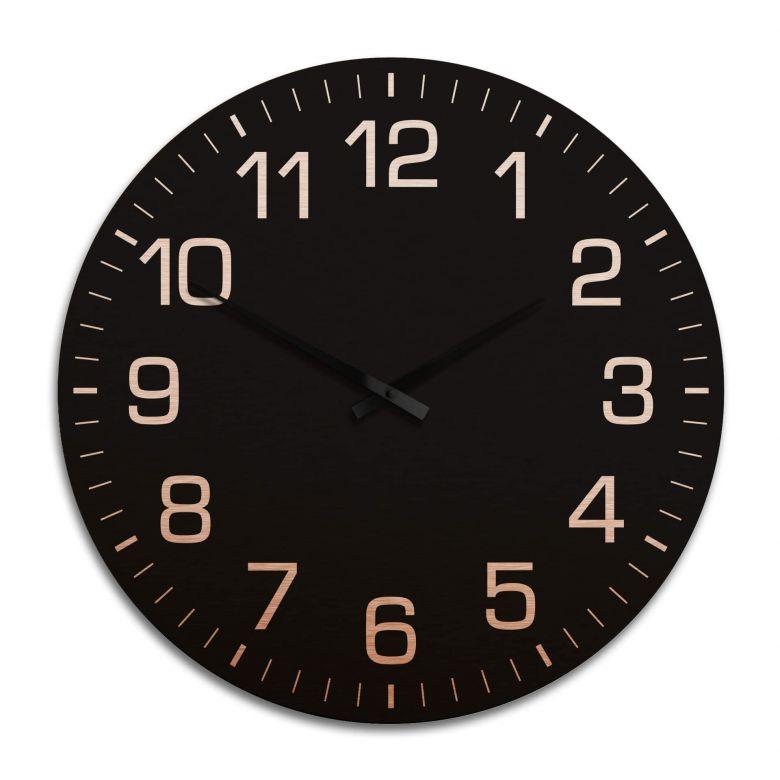 Horloge murale XXL en Alu-Dibond - Cuivrée - Classique noire avec minutes Ø 70 cm