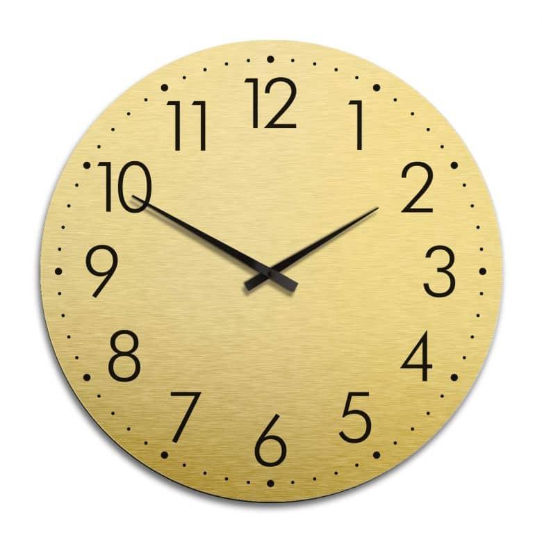 XXL Wanduhr Alu Dibond Goldeffekt - Modern mit Minutenanzeige Ø 70 cm