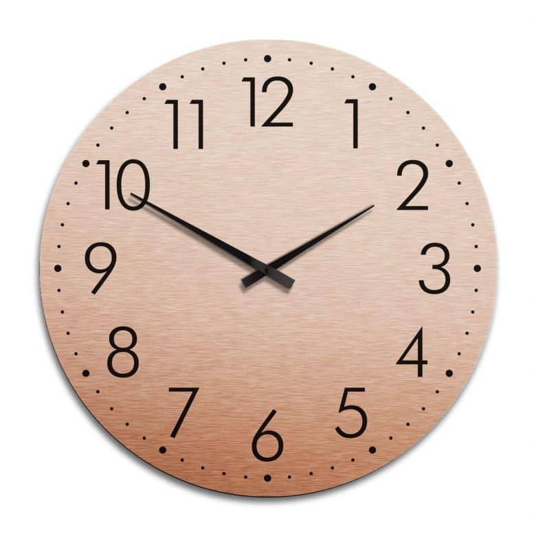 Horloge murale XXL en Alu-Dibond - Cuivrée - Moderne avec minutes  - Ø 70 cm