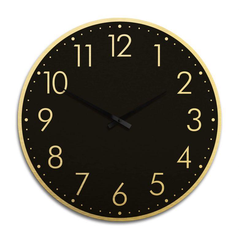 XXL Wanduhr Alu Dibond Goldeffekt - Modern mit Minutenanzeige negativ Ø 70 cm
