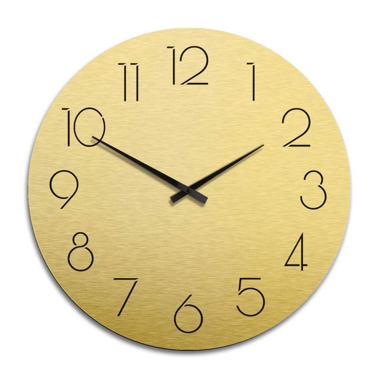 XXL Wanduhr Alu Dibond Goldeffekt - Modern nur mit Zahlen Ø 70 cm