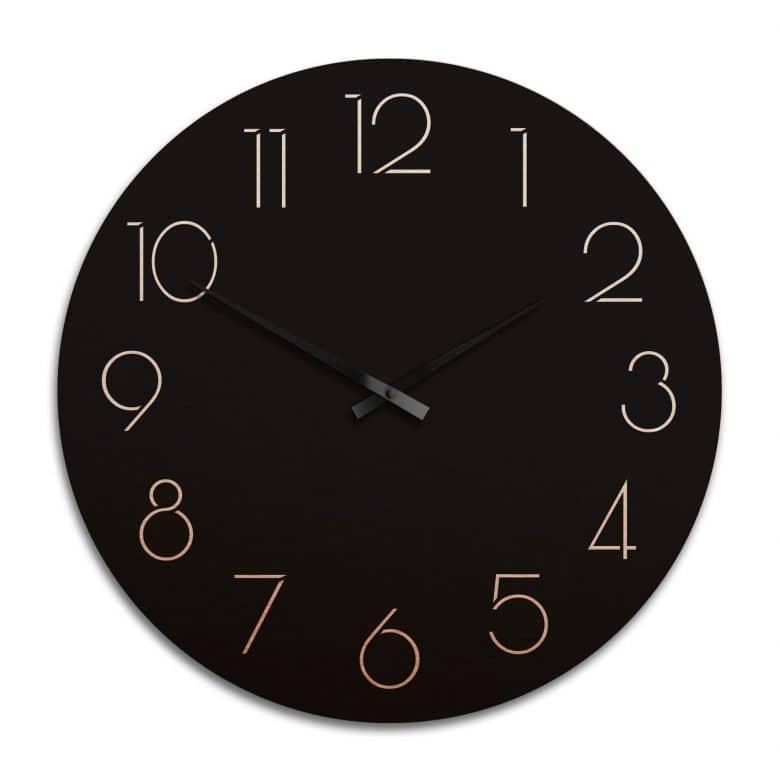 Horloge murale XXL en Alu-Dibond - Cuivrée - Moderne noire avec chiffres - Ø 70 cm