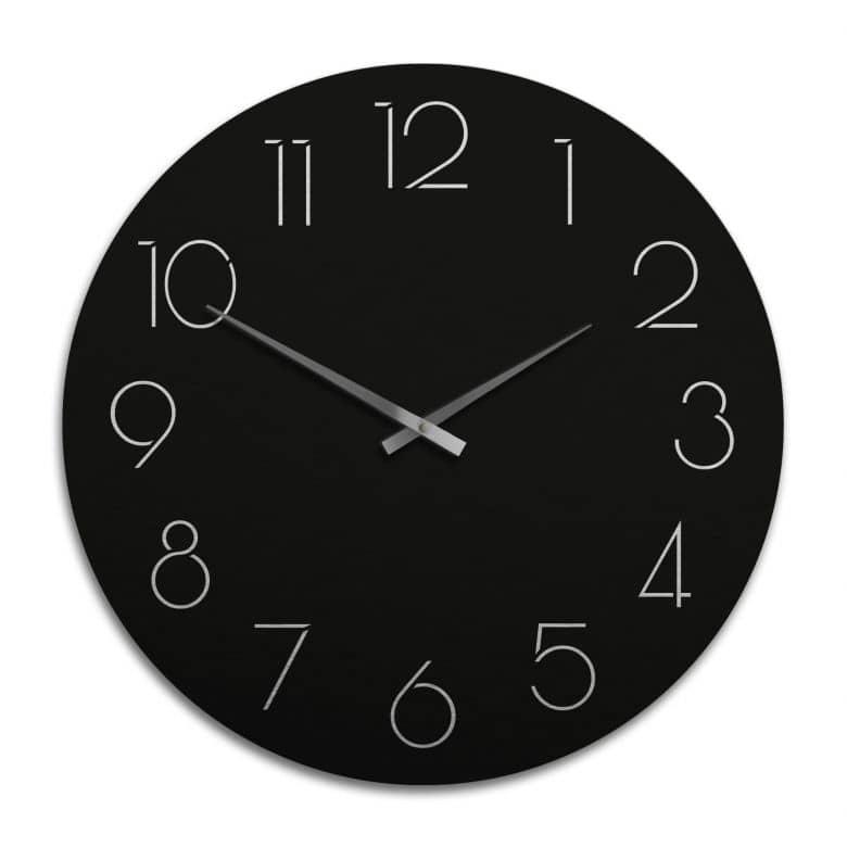 Horloge murale XXL en Alu-Dibond - Argenté - Moderne noire avec chiffres