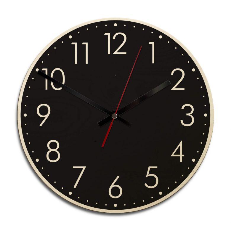 Horloge murale en bois - Moderne noire avec minutes