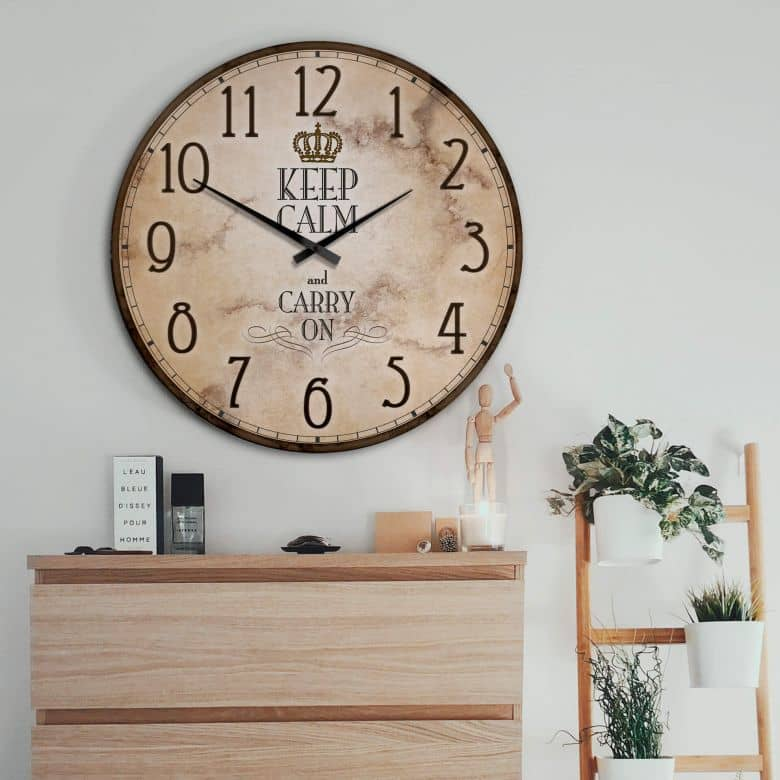 Horloge murale XXL - Keep Calm and Carry on