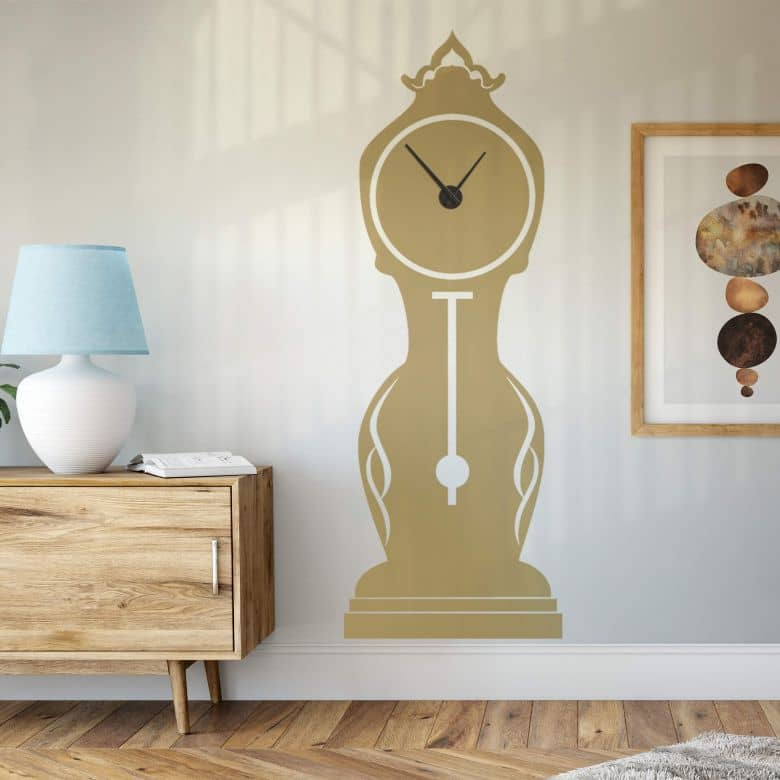 Antique Grandfather Wall sticker + Clock
